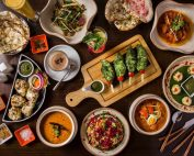 A bunch of different types of food on a table